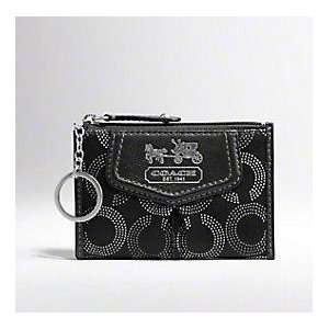COACH Madison Coach Op Art Mini Skinny Coin Case Key Ring Case