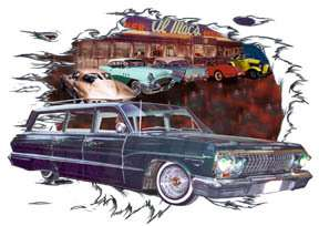 1963 Green Chevy Impala Station Wagon Custom Hot Rod Diner T Shirt 63