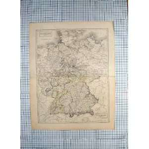 HALL ANTIQUE MAP c1790 c1900 GERMANY MUNICH PRUSSIA