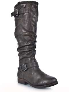 NEW BAMBOO Women Casual Buckle Knee high Riding Boot green sz Olive