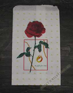100 Red Rose Jewelry Paper Gift Bags 4 x 6 Tote Display