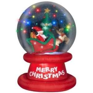 Trim a Home Airblown Santa in Sleigh Scene Snow Globe