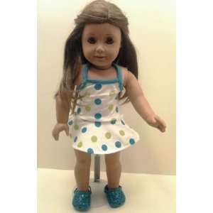 Polka Dot Swimsuit with Shoes Fits American Girl Dolls: Toys & Games