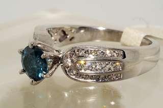 5500 1.07CT ROUND CUT BLUE DIAMOND ENGAGEMENT RING VS 18K SIZE 7.25