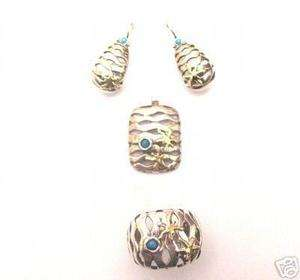 Silver 925 RING EARRING PENDANT Set Turquoise and Gold