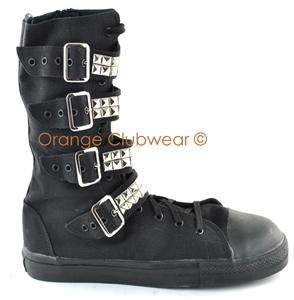 DEMONIA TYRANT 203ST Mens Steel Toe Studded Goth Punk Sneakers Casual