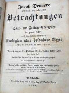 1860 antique JACOB DENNERS bible sermons BETRACHTUNGEN