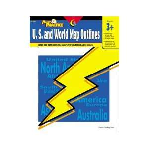 Power Practice U.S. and World Map Outlines: Toys & Games