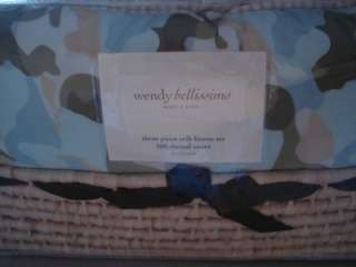 WENDY BELLISSIMO Blue Camo 3 pc Crib Set linens Basket