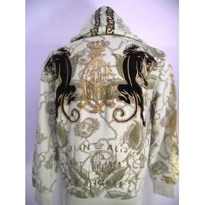 CHRISTIAN AUDIGIER ED HARDY MENS DUAL PANTHER HOODIE RHINESTONES WHT