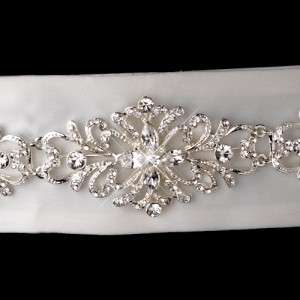 Vintage Crystal Wedding Dress Sash Bridal Belt White or Ivory New