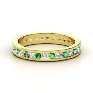 Alondra Eternity Band, 14K Yellow Gold Ring with Emerald