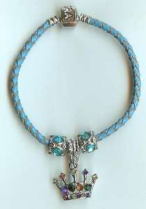 EUROPEAN STYLE RHINESTONE CROWN LEATHER BRACELET