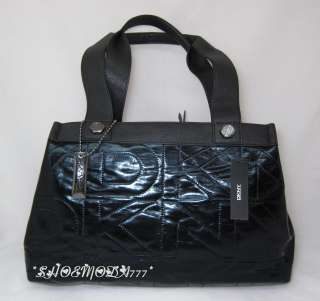 DKNY Active Quilted Logo Bag Purse Satchel Sac Tote Patent Black New