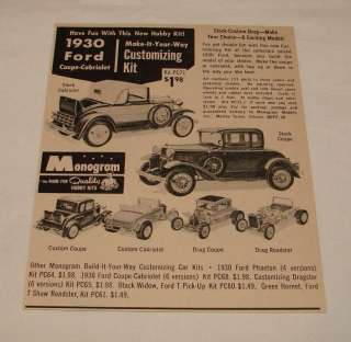 1962 Monogram models kit ad ~ 1930 Ford Coupe+Cabriolet