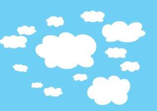 13 Cloud Wall Stickers Nursery Baby Room *REMOVABLE*
