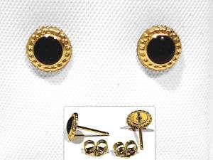 SOLID 14K YELLOW GOLD & BLACK ENAMEL DECORATED EARRINGS