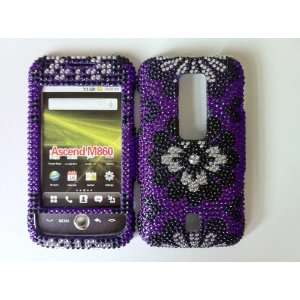 Huawei Ascend M860 Black and Silver Flower on Purple Bling