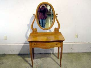 Antique Golden Oak Arts & Crafts Dresser Vanity  Mirror