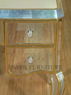 Mahogany Distressed Silver/Gold Finish Mirrored Vanity Table mcd002ag