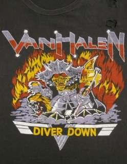 Vintage 80s VAN HALEN Diver Down HARD ROCK Concert TOUR T Shirt XL R2