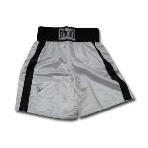 Autographed Muhammad Ali Black and White boxing trunks