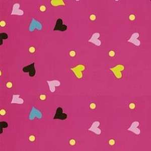 Hugs and Kisses Tossed Valentines Day Heart Pink Fabric