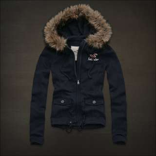 NEW ARRIVAL HOLLISTER ABERCROMBIE WOMENS JACKET JUMPER FUR HOODIE  M