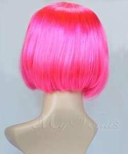 Short Bob Wig Long Side Bang Bob Style Wig HOT PINK Synthetic Hair