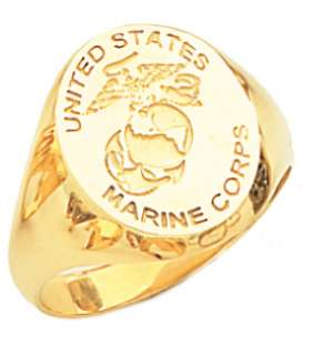 New Mens 10 or 14k Yellow Gold US Marine Corps USMC Military Signet