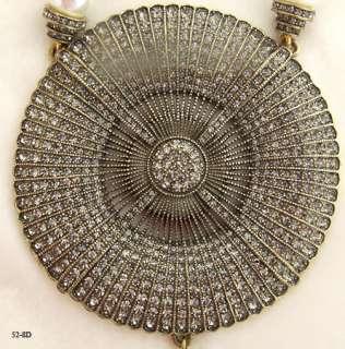 HEIDI DAUS FAUX PEARL BEAD NECKLACE BLACK DIAMOND COLOR CRYSTAL