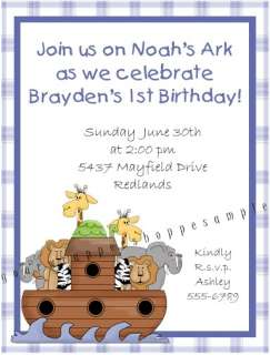 CUTE Custom NOAHS ARK Birthday Baby Shower Invitations