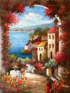 Mediterranean Coastal Villas large oil painting Art on Canvas 36x48