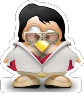 Tux   Linux Penguin Elvis Sticker   3.5 x 3.5