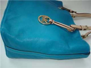 New Michael Kors ITEMS GRAB BAG TOTE Turquoise Blue Leather NWT