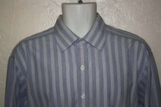 TURNBULL & ASSER $375 BLUE + WHITE STRIPE COTTON DRESS SHIRT 17 MINT