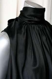 TULEH Black Pleated *Satin* OPEN BACK+Bow Neck Dress 10
