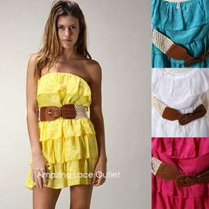 RUFFLE DRESS Belted Strapless Tube Top Pretty Mini Dress White Yellow