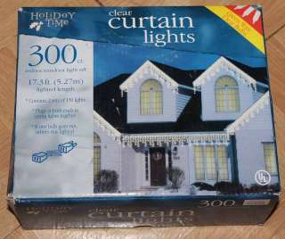 300 Holiday Time Clear Curtain Lights 17.3 ft