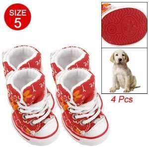 Como Doggy Anti slip Rubber Sole Red Canvas Boot Sz 5 Pet