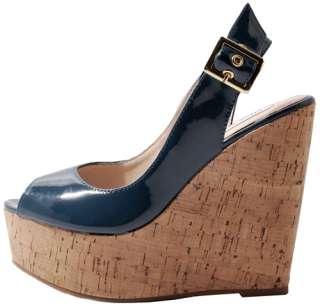Steve Madden Wissper Teal Patent Leather Platform Wedge Heels NEW
