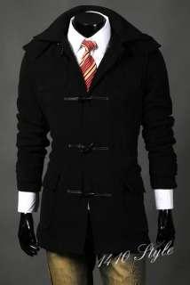 Black Mens slim S breasted hoody long trench coat c09