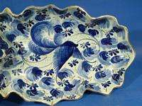 d486 BLUE BIRD on Huge 19 FRUIT BOWL HUBERT BEQUET
