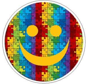 PUZZLE SMILEY FACE Autism Awareness   1 Round Stickers