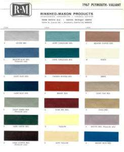 1967 PLYMOUTH PAINT COLOR SAMPLE CHIPS CARD OEM COLORS