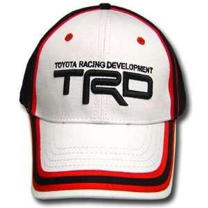 TOYOTA RACING TRD WHITE BLACK CAP HAT NASCAR CAR ADJ