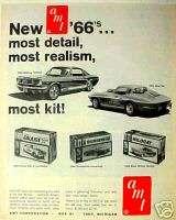1966 AMT Model Car Kits~Mustang~T Bird Trade Toy AD