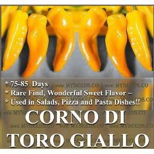 1,000 YELLOW BULLS HORN COW HORN Pepper seeds TORO GIALLO