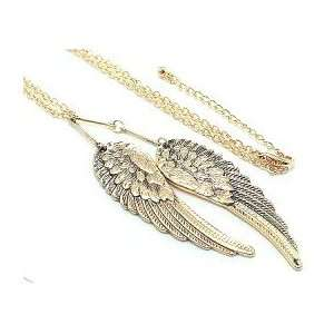 Beautiful Double Angel Wings Charm Necklace Bright Silver