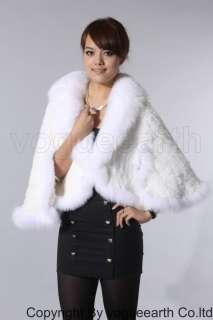 160 new real fox Rex rabbit fur white shawl/capes/coat